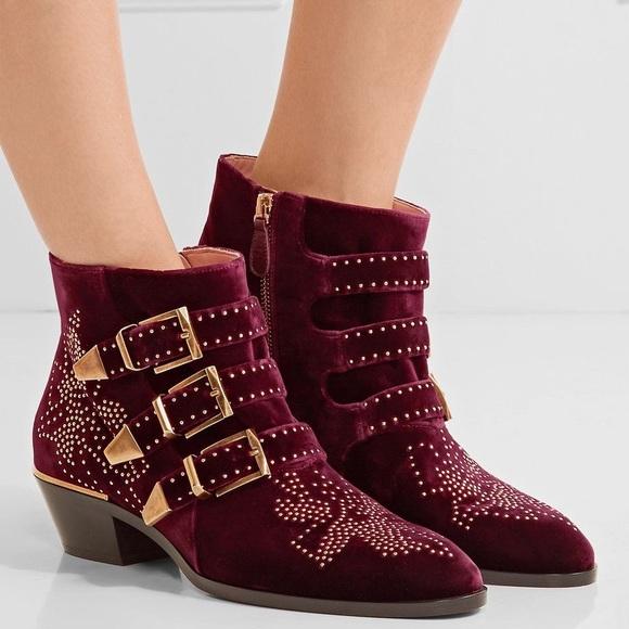 cae37287 CHLOÉ Susanna studded velvet ankle boots Bordeaux NWT
